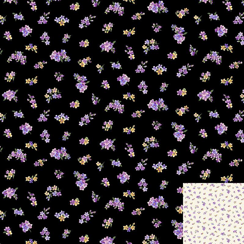 Fowerettes Black Quilt Fabric