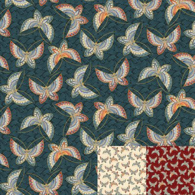 Butterfly Fancy Teal Quilt Fabric
