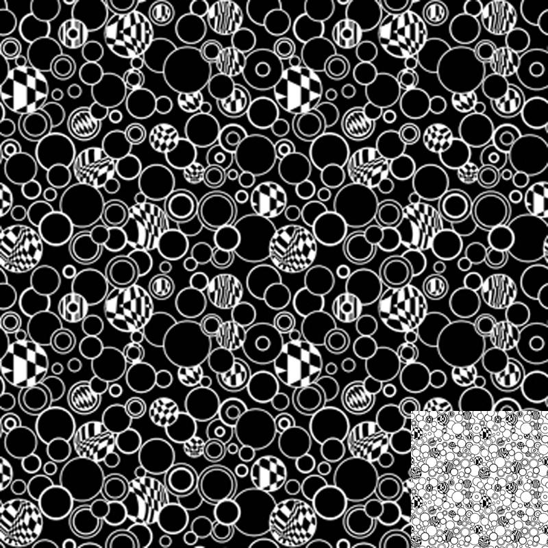 Black Bubbles Quilt Fabric