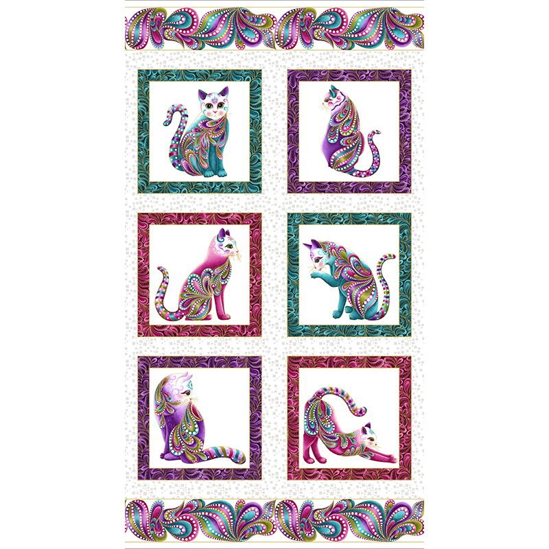 Cat I Tude Panel Grizzly Gulch Gallery Quilt Fabric