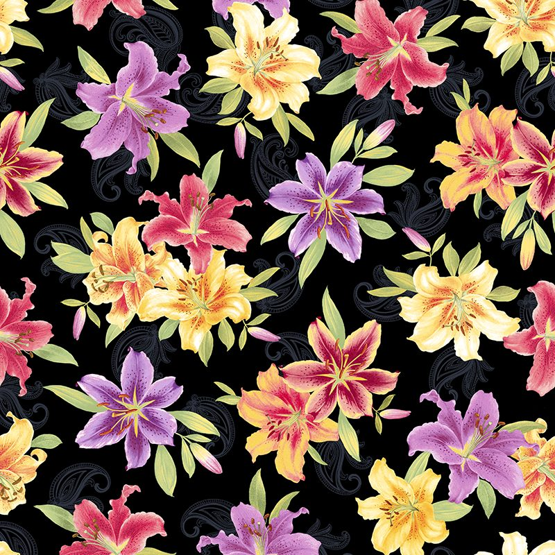 Allover Large Lily Grizzly Gulch Gallery Quilt Fabric