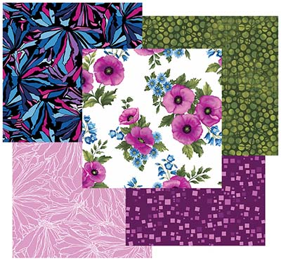 Midnight Poppies  fabrics